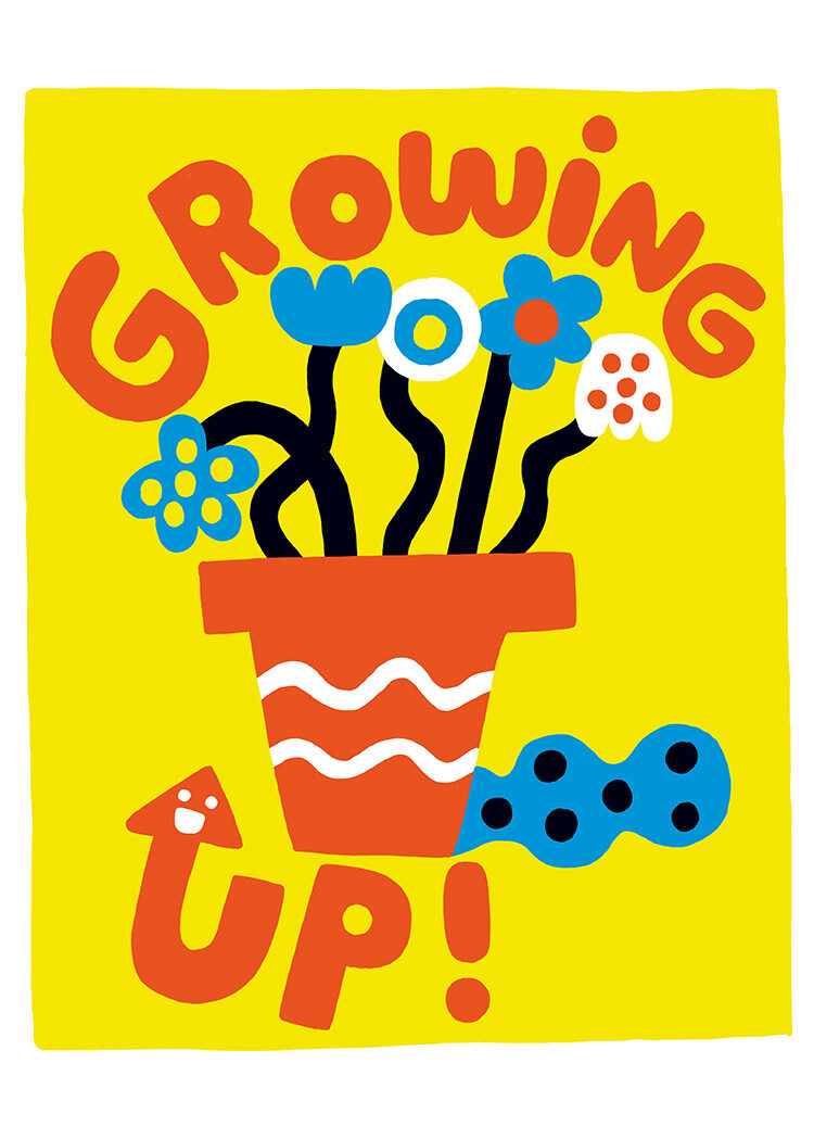 Flower pot with blue and white flowers on black stems and orange text Growing Up on yellow background