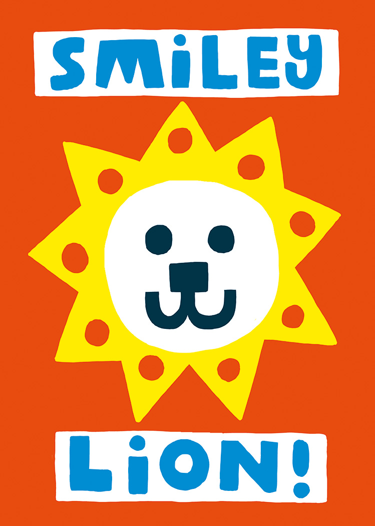 Illustration with lion face with sun shaped mane and the text Smiley Lion on organge background