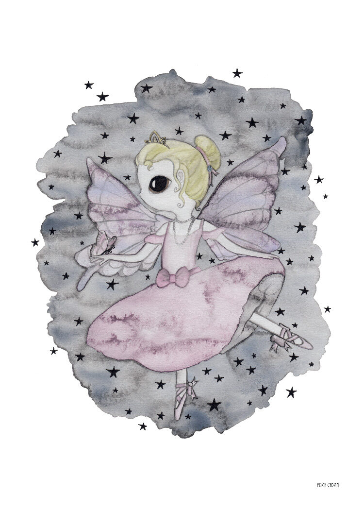 Water colour poster of ballerina with pink dress, butterfly wings and necklace