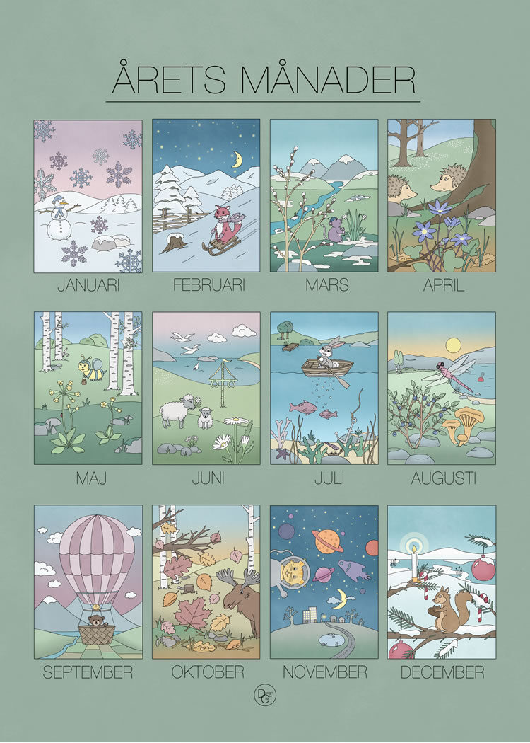12 illustrations, one for each month, of the changing seasons